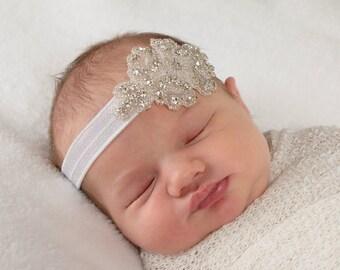Rhinestone Headband, White Baby Headband, Baptism Headband, Baby Shower Gift, Christening Headband, Christening Hair Bow, Newborn Photo Prop
