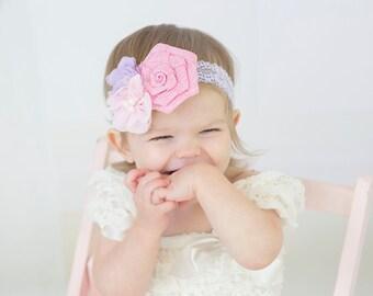 Pastel Headband, Lavender Pink Headband, Spring Headband, Lavender Lace Headband, Flower Girl Headband, Newborn Photo Prop, Baby Shower Gift