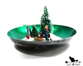 Shiny n Bright Vintage Silver Bowl with Green Enamel A Perfect Christmas Display Bowl by Reed and Barton SilverSmiths