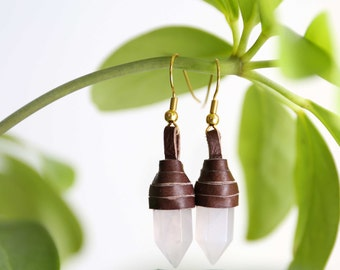 Rose Quartz Leather Wrapped Earrings