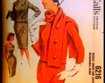 """McCall's 6216   Misse Dress And Jacket with Detachable Scarf  Bust 32"""""""