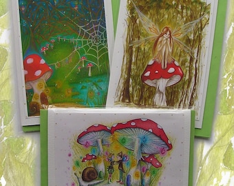 Toadstool Magic fairy Card Pack/fairy greetings card//Birthday Card/Toadstool/Mushrooms/Magic/Fly Agaric/Fantasy/Forest/Faerie Cards/