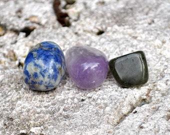 SAGITTARIUS Set of 3 Crystals - Sodalite, Labradorite, Amethyst | Gemstones | Astrology Zodiac, Meditation Yoga, November December Birthday