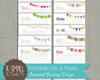 "Seasonal Bunting To-Do Lists & Notes {Printable} - Sized X-Small Personal 3.75 x 6.75 "" PDF"