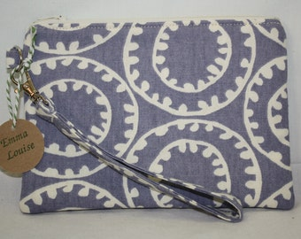 Small Wristlet with Detachable Strap in Lavender Canvas with Circular Design and Lavender Cotton Lining