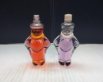 2 Rare Vintage Clown Figural Full Perfume Bottles S. Kleinkramer Holland Circa 1940