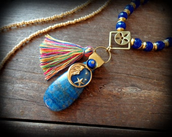 Lapis Lazuli necklace, royal blue and gold moon necklace, tibetan lapis jewelry, long beaded necklace, moroccan tassel, bohemian necklace
