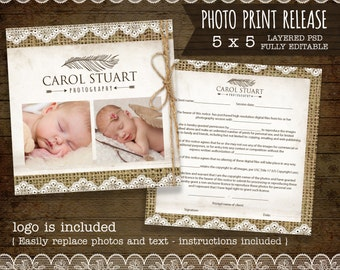 Photo Print Release Form Template - Photography Forms, Instant - cream with dots -  editable layered PSD - logo included - instant download