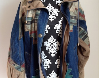 Vintage Women's Denim Jacket with Southwestern Details