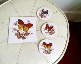 Vintage Butterfly Tile and Trivet Set