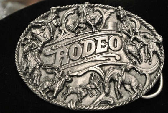 Pewter Buckle Rodeo Belt Buckle 1988 Made In USA Siskiyou Buckle Co Inc Williams Oregon Cowboy Bull Rider Horse Southwestern Western Steer