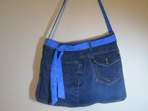 Upcycled Funky Jean*** Medium Size Crossbody Tote Handbag