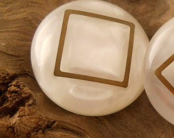 VINTAGE BUTTONS, white with gold, 1 1/8 inch size, set of three buttons.