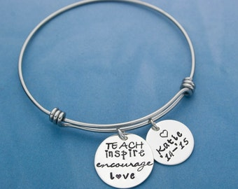 Teacher Gift, Thank You for Teacher, Teacher Bangle Bracelet, Personalized Teacher Gift, Expandable Bangle Bracelet, Hand Stamped Charms