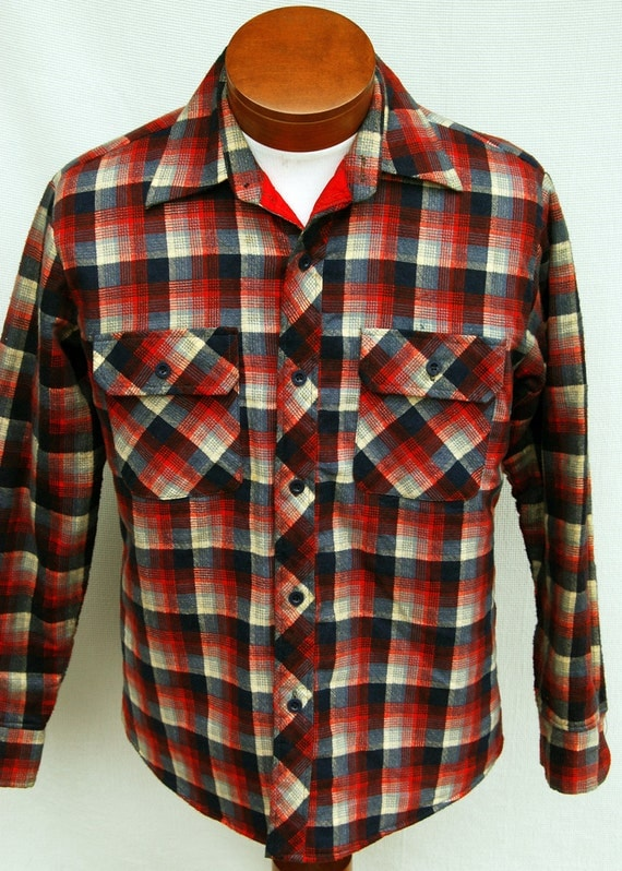Vintage quilted plaid flannel shirt jacket grunge mens red for Men flannel shirt jacket with quilted lining