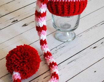 Valentines Hat - Valentine Elf Hat - Valentine Long Tail Hat - Valentine - Photo Prop - Valentine Prop - Newborn Prop