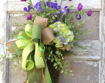 Door Cone, Wall sconce, Spring door swag, Summer Wreath,  Front Door Wreath,Whimsical Wreath, Everyday Wreath