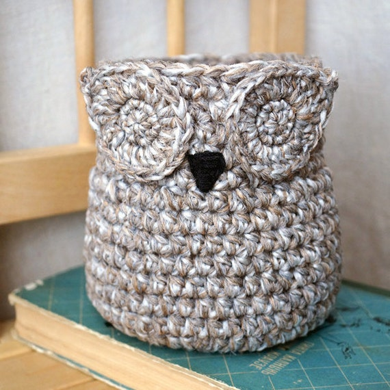 Crochet Owl Basket : Owl Crochet Basket Handmade Container Home decor by elokka