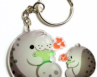 Cute Manatee Keychain, Phone Charm, sea cow, mermaid, animal lover, sea creature, endangered species, kawaii, cute animals