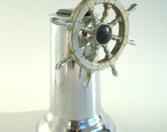 Vintage 1940s Hamilton Ship's  Wheel Table Lighter Chrome Plate
