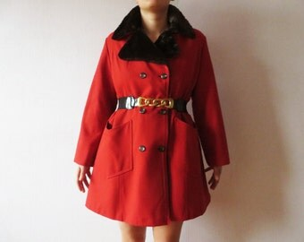 Red Winter Coat Double Breasted Coat Faux Fur Collar and Lining Huge Lapels Woman Autumn Short Coat Made in USA Size Large