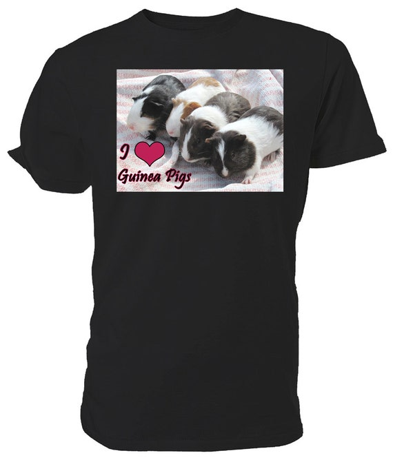 I Love Guinea Pigs T shirt. classic round neck short sleeved choice of sizes and colours,