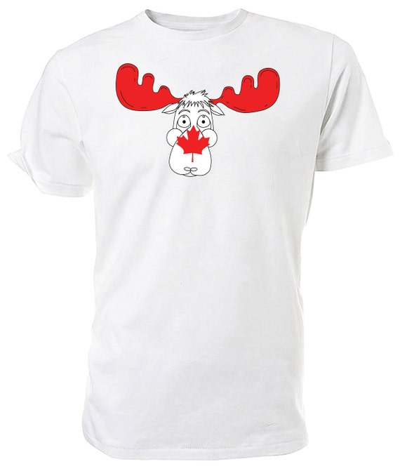 Canadian Flag Moose T shirt. classic round neck short sleeved choice of sizes and colours,