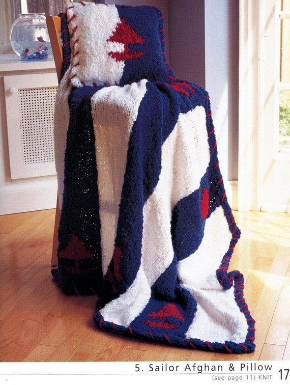 Nautical Cushion Knitting Pattern : Knit & Crochet 8 AFGHANS and PILLOW Pattern Nautical