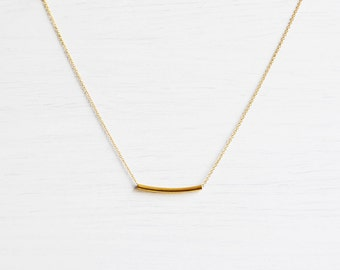 Dainty Gold-Plated Bar Necklace // Everyday Necklace // Everyday Jewelry // Tiny Gold Necklace / Delicate Gold Necklace / Layering Necklaces