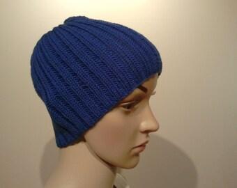 Blue Classic Knit Beanie Merino