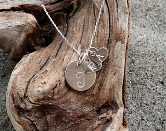 Mothers Necklace, Initial Necklace, Sterling Silver, silver heart