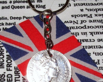 1988 British Old Large Five Pence Coin Keyring Key Chain Fob Queen Elizabeth II