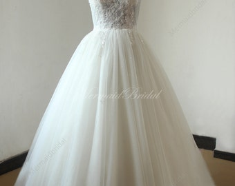 Heavy beading ivory blingbling tulle ball gown lace wedding dress