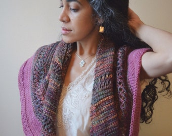 Marsh Sunset Shawl- knit , scarf, wrap, pink variegated colors, spring