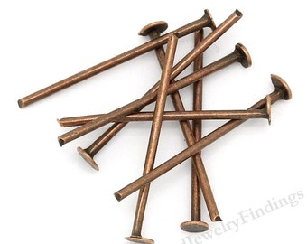 BULK - 300  Copper Headpins - Antique Copper Headpins - 20 gauge thick - Red Copper Findings - Jewelry Making Supply lot - 18mm long- HP23