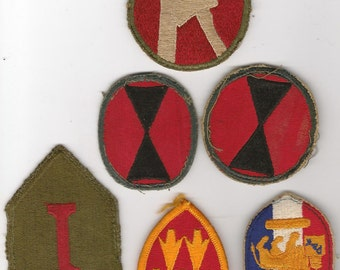 Vintage collection (6)  of worn WW I I Army  service patches.