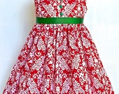 Girls Christmas Dress Toddler Christmas Dress Red and White Damask Sizes 2T - 6 by 8th Day Studio