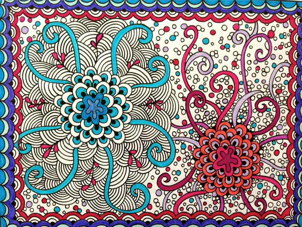 zentangle coloring page zendoodle adult coloring digital download coloring page a rainy day activity arts and crafts intricate