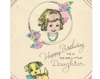 Vintage Birthday Card to Daughter Puppy Little Girl Real Ribbon in Hair 1940 Unused