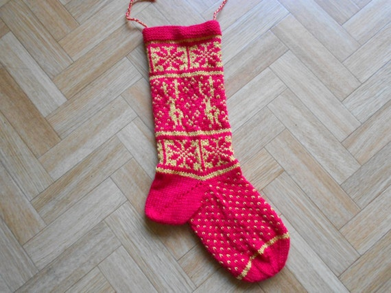 Christmas Stocking Knitting Pattern Download : Christmas stocking knitting PATTERN by CuteCreationsByLea on Etsy