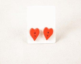 Love Earrings - Button Earrings - Button Jewelry - Sewing Gifts - Love, Buttons - Heart - Stud Earrings - Heart Earrings - Heart Jewelry