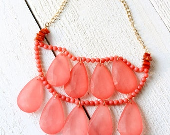 Vintage Salmon Pink Multi Strand Statement Necklace