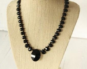 Jet Black Swarovski Briolette Necklace