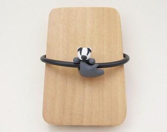 Cute Badger Bracelet with Badger Charm Bead on Black Rubber Cord Bracelet or Black Leather Cord Bracelet, Ideal Gift for Badger Lover