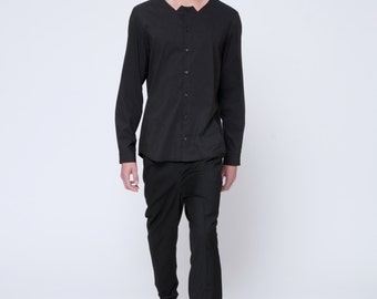 Mens Shirt Black shirt Short Sleeve Button Down Button up Slim