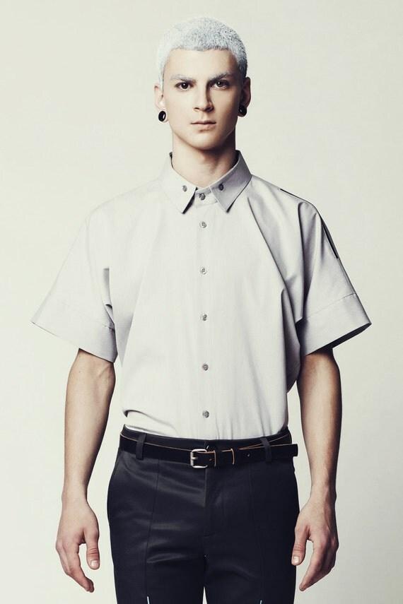 SALE Mens Shirt Mens Gray Shirt Short Sleeve Button Down