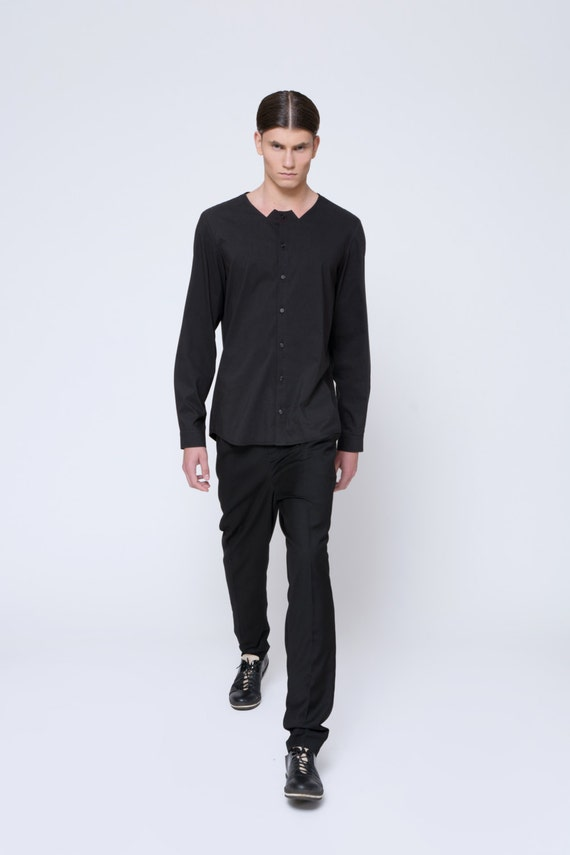 Mens Shirt Mens Black Shirt Dress Shirt Long Sleeve Button