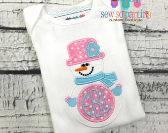 Baby Girl Winter Outfit Shirt Bodysuit - Snowman Shirt - Personalized Snow girl Shirt - Baby Winter Clothes