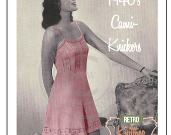 1940s Cami Knickers Knitting Pattern -  PDF Knitting Pattern - Instant Download