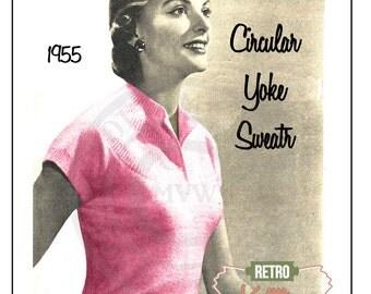 1955 Ladies Yoke Sweater Knitting Pattern  - PDF Instant Download